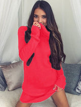 Autumn And Winter Long Sleeve Straight Women's Turtleneck Sweater Dress