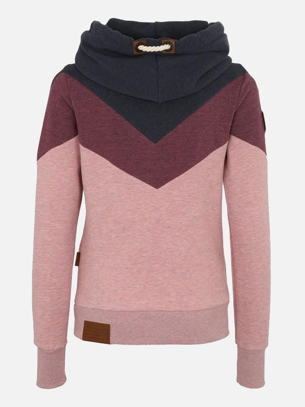 Color Block High Neck Long Sleeve Women's Hoodie
