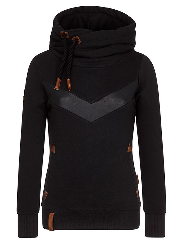 Black Patchwork High Neck Pullover Slim Fit Women's Sweatshirt