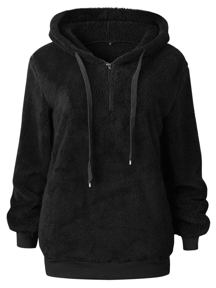 Round Neck Slim Fit Thick Pullover Women Hoodie – hebedress.com 19ed08e41