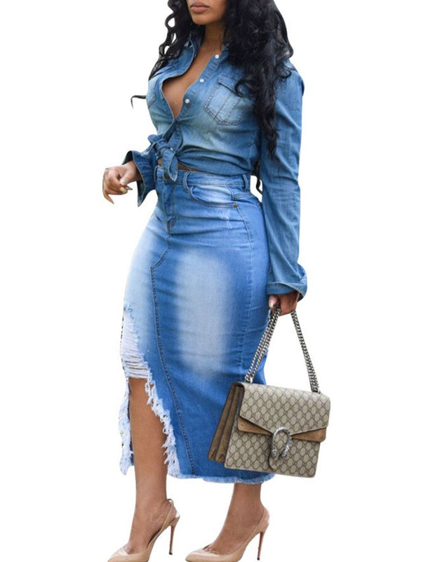 Fashion Worn Hole Split Women's Denim Bodycon Skirt