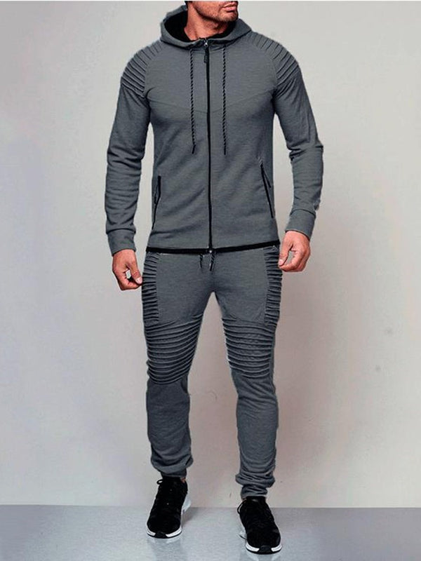 Solid Color European Style Men's Sports Suit