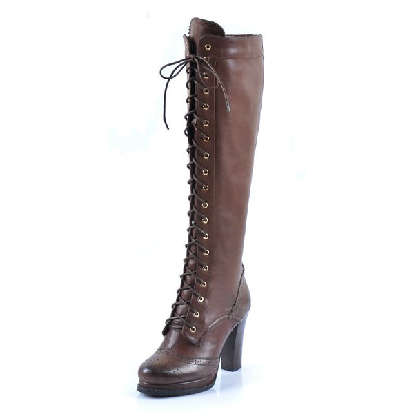 Retro Cross Strap Side Zipper Chunky Heel Women's Boots