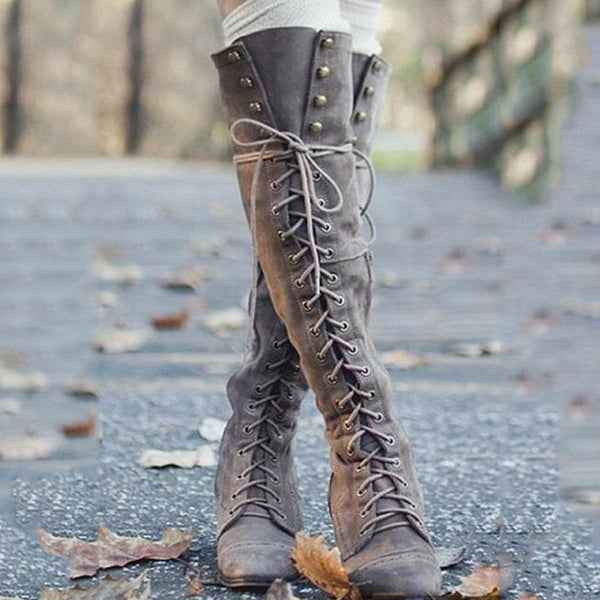 Knee Length Lace Up Front Women's Retro Flat Boots