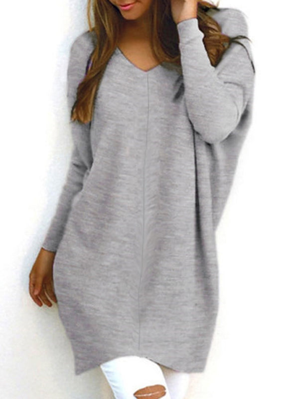Solid Color Mid-Length V-Neck Loose Fit Women Sweater