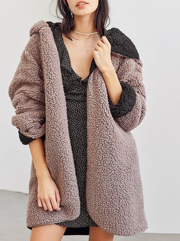 Mid-Length Loose Fit Fleece Double-sided Wear Winter Overcoat
