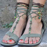 Solid Color Tassel Lace-Up Flat Sandals