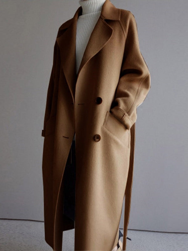 Double-Breasted Notched Lapel Loose Long Women's Overcoat Winter Coat