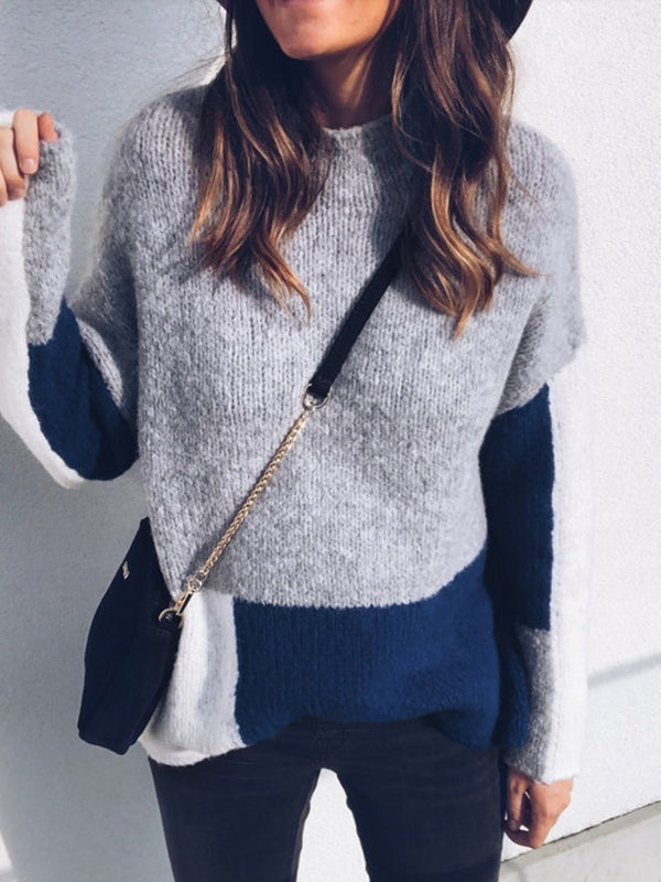 Color Block Long Sleeve Loose Fit Knitted Tops