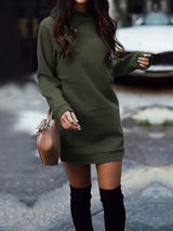 Stand Collar Long Sleeve Straight Sweatshirt Fall Dress