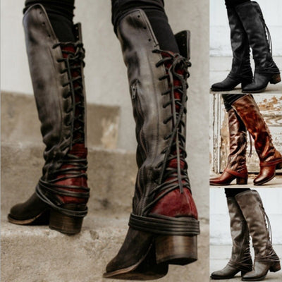 Chunky Tassels Bandage Knee High Retro Women's Boots