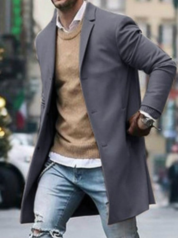 Single-Breasted Mid-Length Cotton Slim Fashion Men's Coat