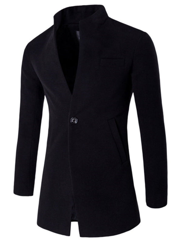 Mid-Length One Button Wool Blends Slim Men's Coats