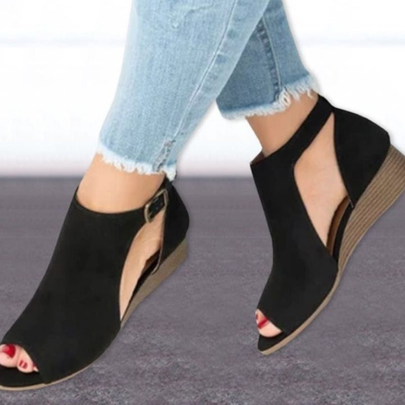 Large Size Ankle Strap Peep Toe Wedge Sandals