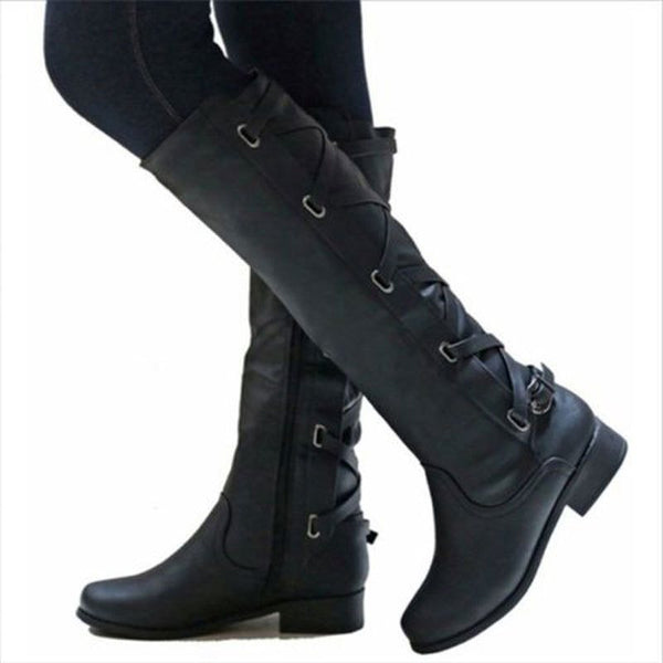 Women Fashion Winter Low Heel Belt Buckle Riding Leather Boots