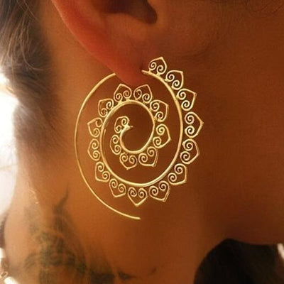Fashion Women Spiral Shape Lotus Petals Earrings Indian Style Eardrop National Jewelry