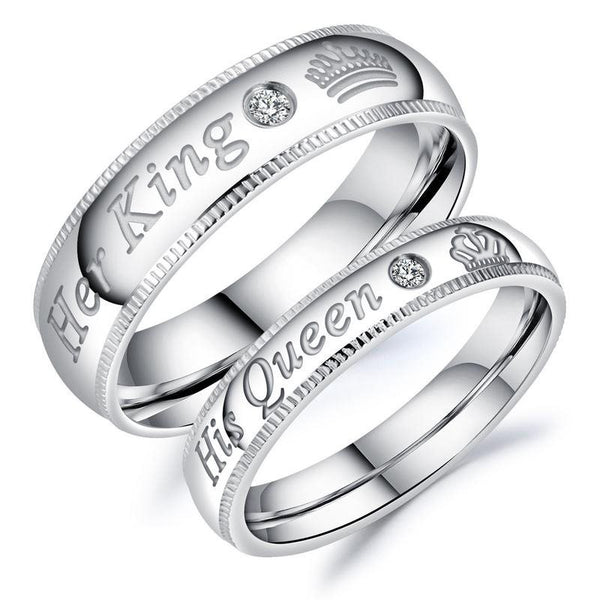 Il suo Queen Her King Couples Ring for Lovers