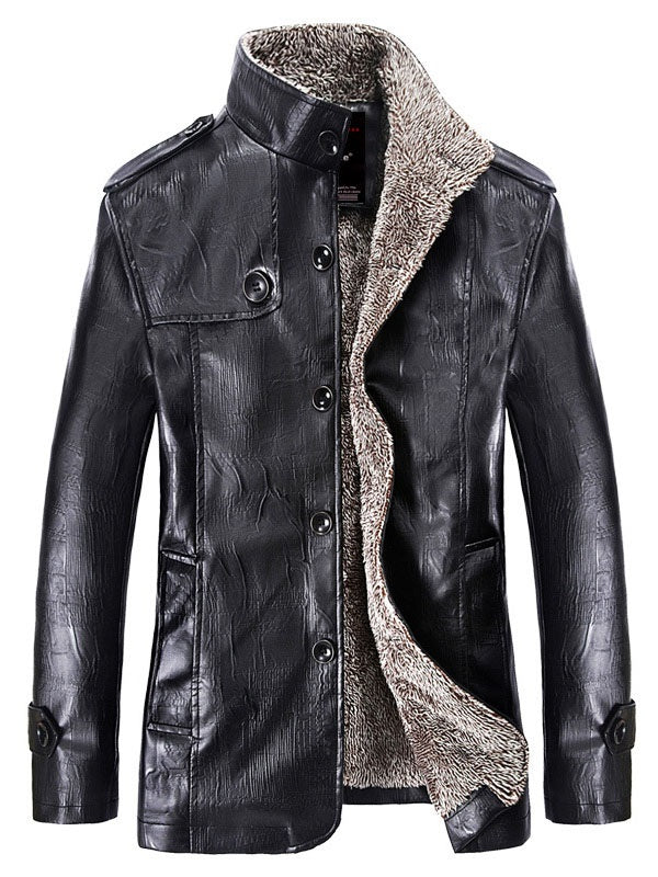 Single-Breasted Stand Collar Shearling PU Men's Winter Jacket