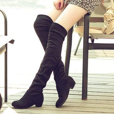 Hebedress Square Heel Slip-On Over-the-Knee Women's Boots