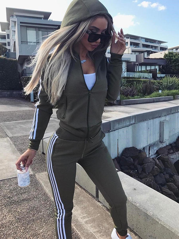 Contrast Color Stripe Zipper Hooded Hoodie and Pants Women's Sport Suit