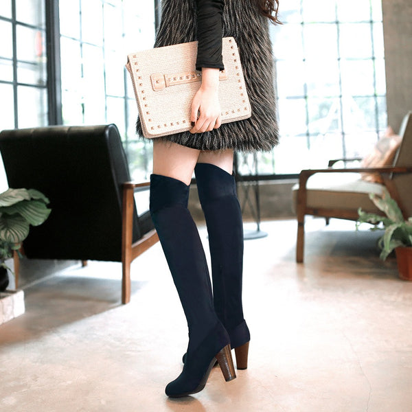 Knee-High Suede Short Floss 8cm High Heels Boots