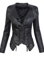 Hot Sell PU Slim Fit Short Tops Women Lapel Jacket