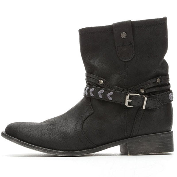 Ankle Length Block Heel Women's Flat Boots