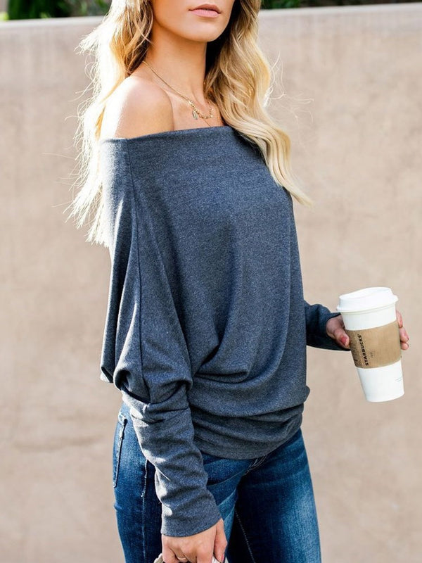 Slash Neck Mid-Length Single Loose T-shirt