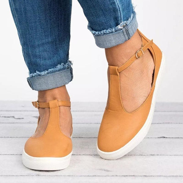 Color Block Flat Ankle Strap Round Toe Casual Outdoor Sneakers
