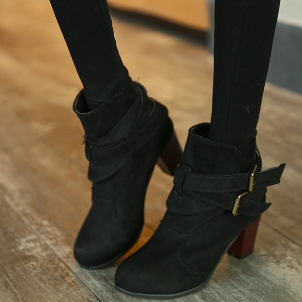Ankle Length Round Toe Chunky Heel Women's Boots
