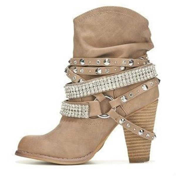 PU Rivet Daily Outdoor Chunky Heel Boot