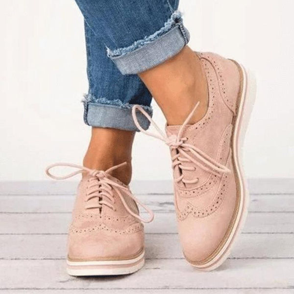 Plus Size Damen Lace Up perforierte Oxfords Schuhe
