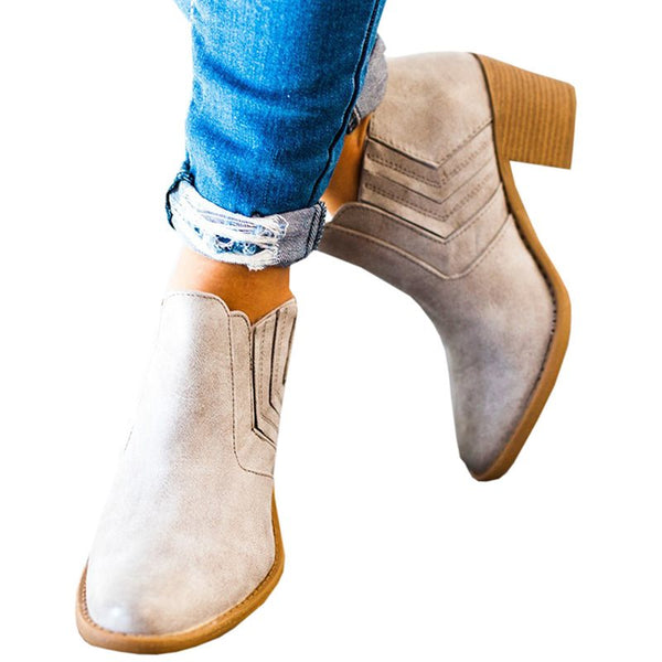 Plain Chunky High Heeled Point Toe Outdoor Boots