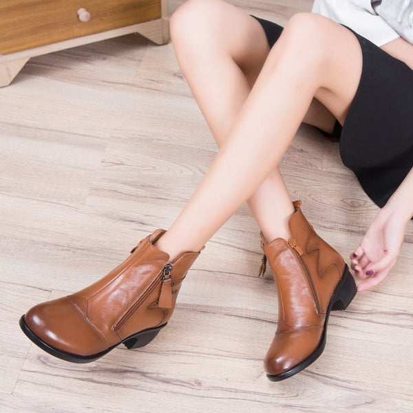 Ankle Length Side Zipper Chunky Heel Daily Women's Ankle Boots