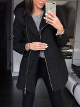 Hooded Zipper Cardigan Women Jacket