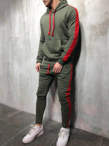 Side Stripe Long Sleeve Hooded Top With Casual Pants Sports Suit