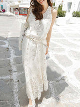 White A Line Sleeveless Round Neck Floral Lace Maxi Dress