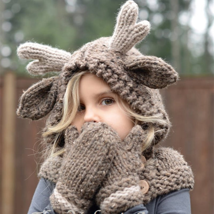Cute Antlers Shape Knitted Baby Hat