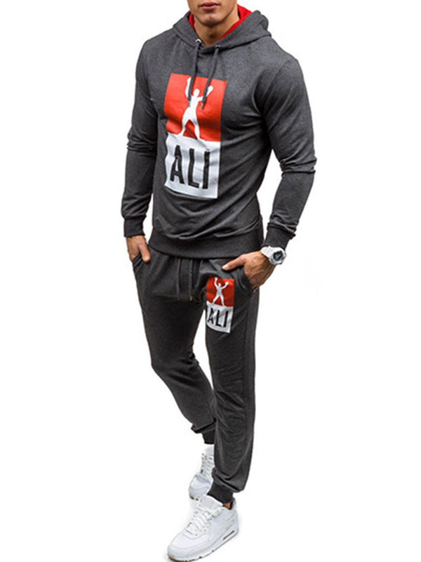 Mens Langarm-Sportanzug Hoodies Tops Hose Gym Set
