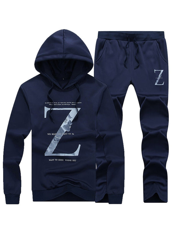Letter Print Front Hooded Single Herrenanzug