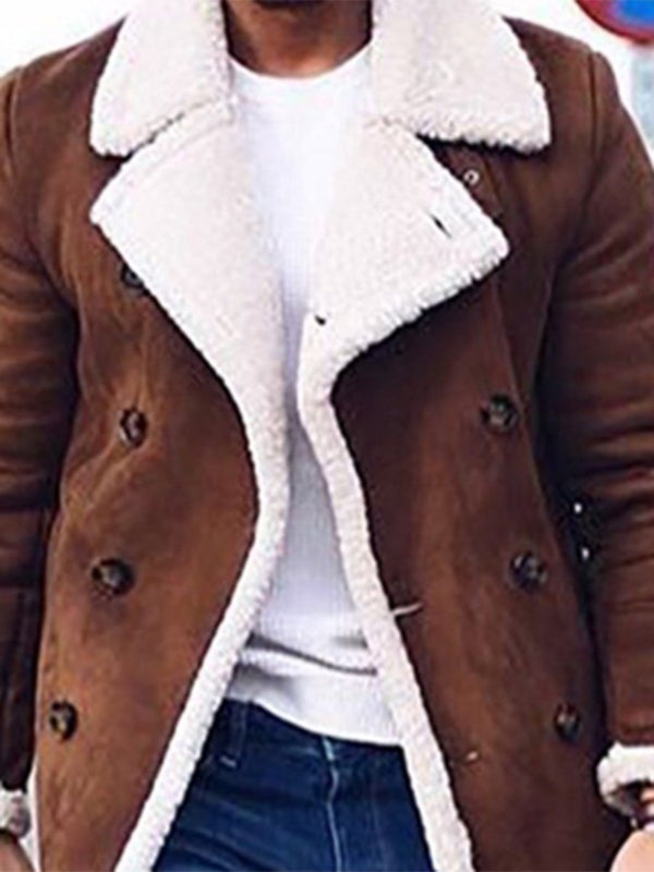 Mid-Length Lapel Shot Floss Warm Fleece Coat for Men