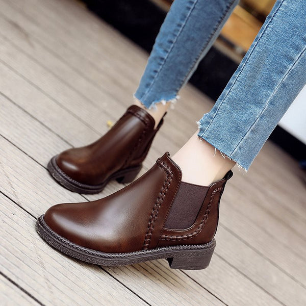 Round Toe Casual Women's Boots Flat Shoes