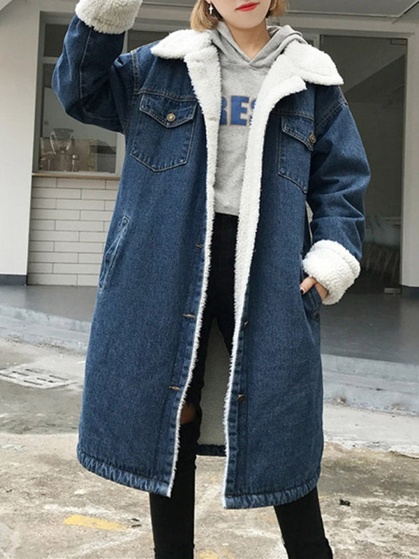 Long Lapel Thick Straight Denim  Blue Women Coat