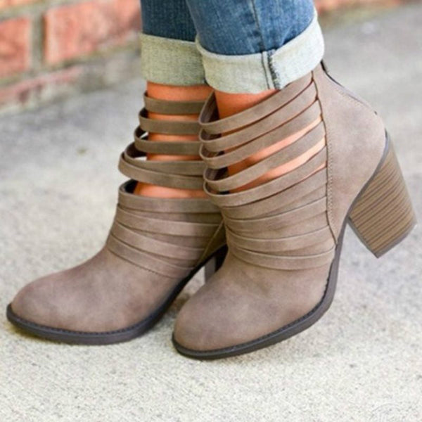 Plus Size Back Zip Chunky Heel Women's Ankle Boots