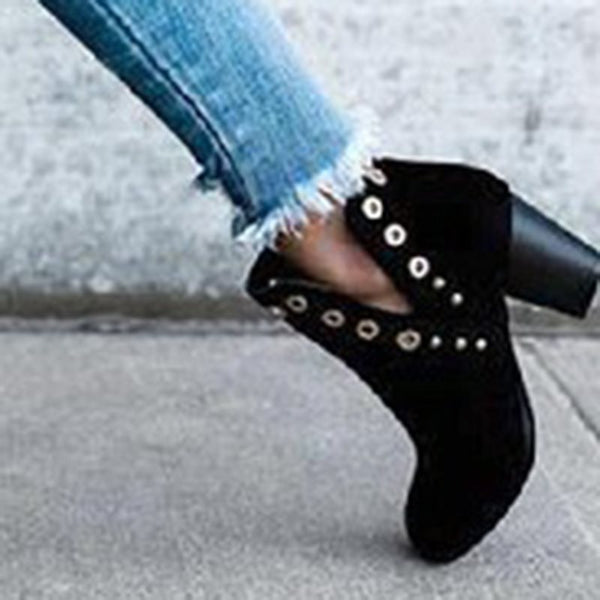 Black Chunky Heel Women's Ankle Boots