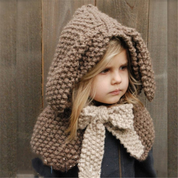 Cute Rabbit with Bow Cappello invernale per bambini