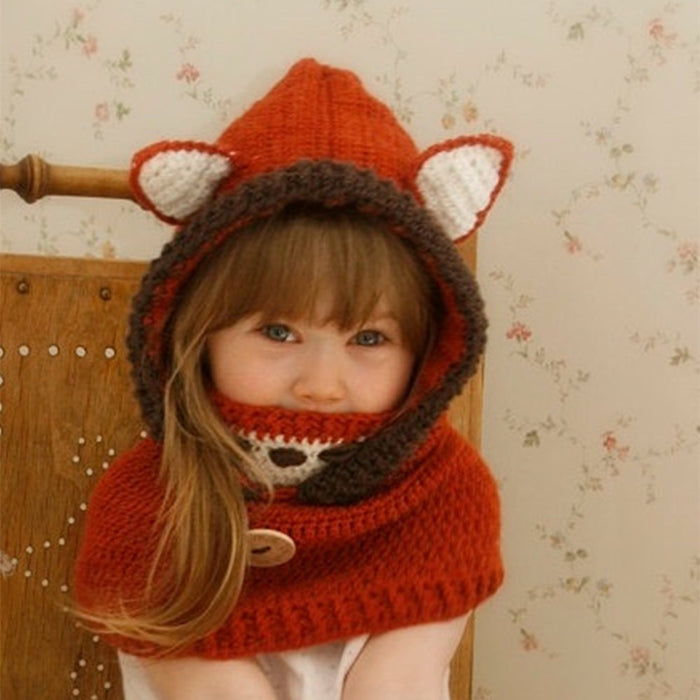 Fox Ears Cotton Blends Winter Child Knit Hat
