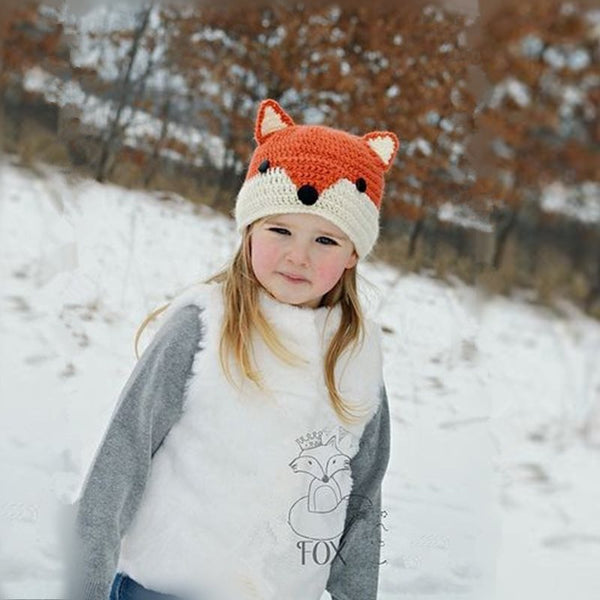 Cute Fox Child Inverno Cartoon Knitting Baby Hat