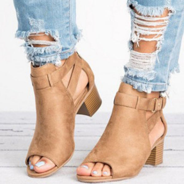 Open Toe Suede Middle Heels Mujeres Bombas