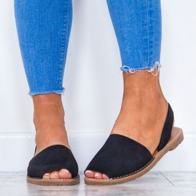 Plain Elastic Band Low-Cut Upper Flat Sandals